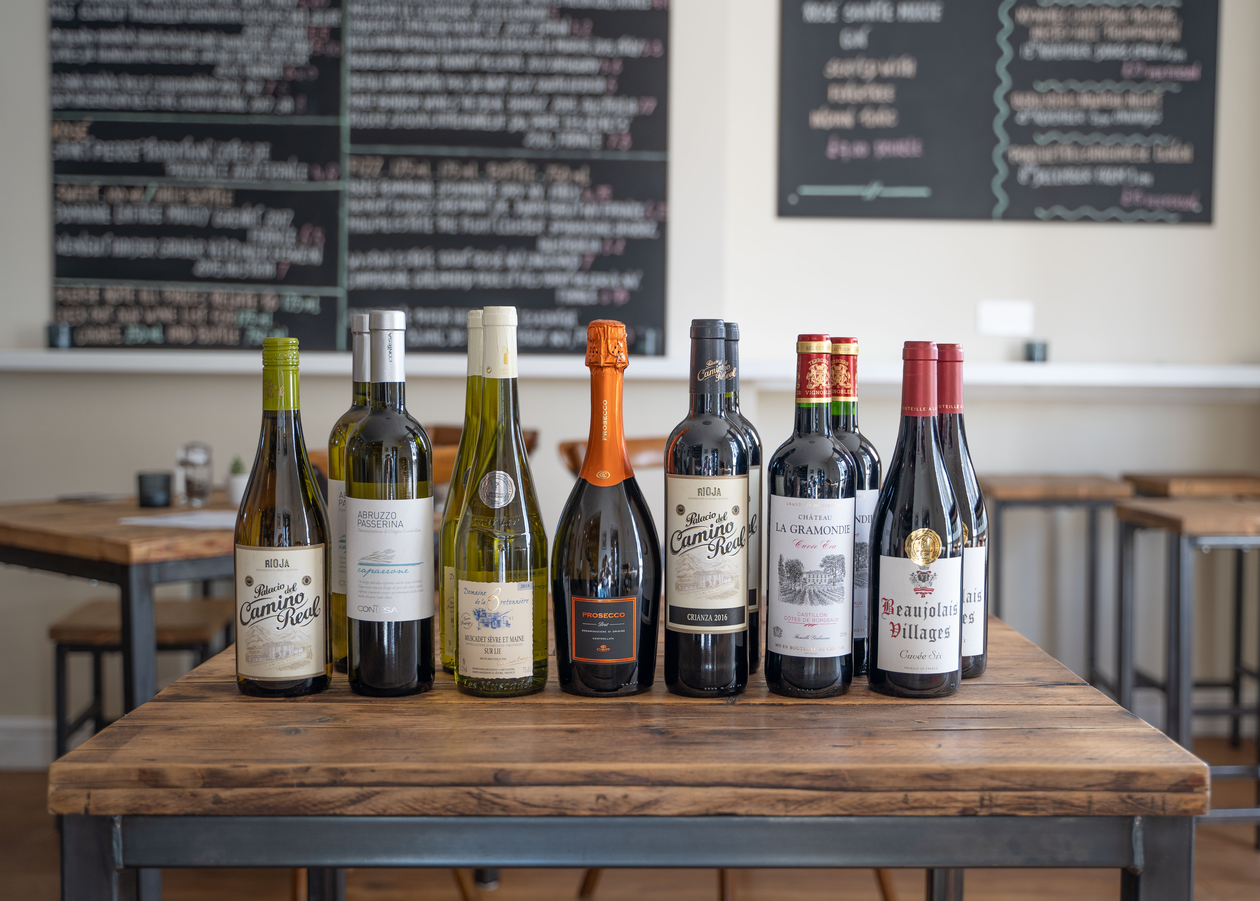 Selection of wines in the Trinity Wine Club
